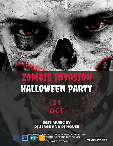 Free Zombie Invasion Halloween Flyer Template