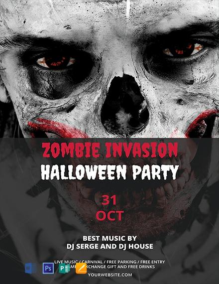 Free Zombie Invasion Halloween Flyer Template