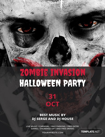 zombie invasion halloween flyer template 1x