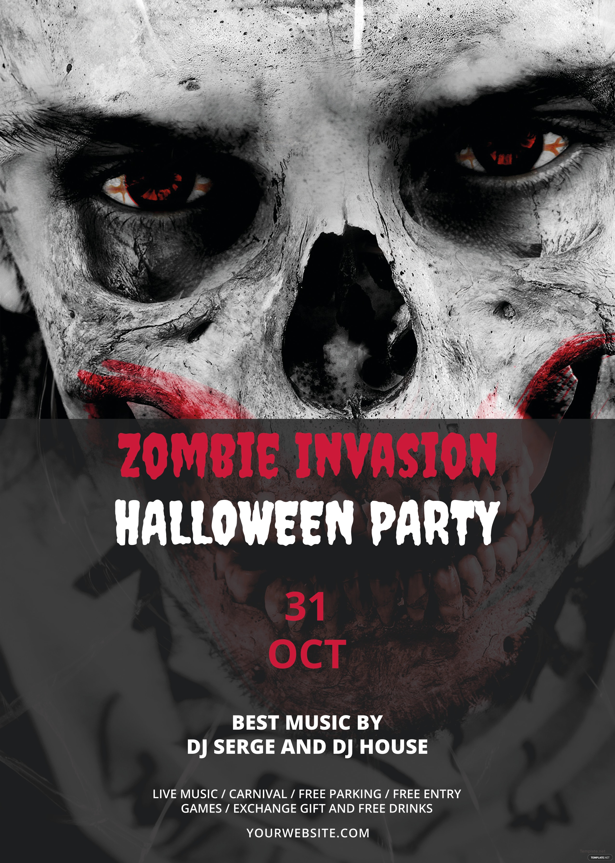 Free Zombie Invasion Halloween Flyer Template in Adobe Photoshop ...