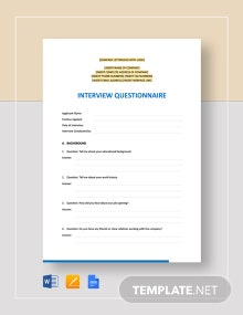 Interview Questionnaire Template