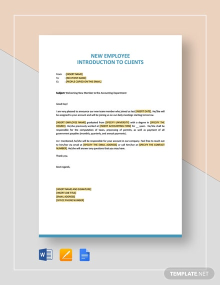 New Employee Introduction to Client Template