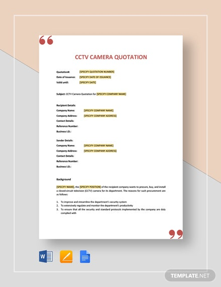 CCTV Camera Quotation Template