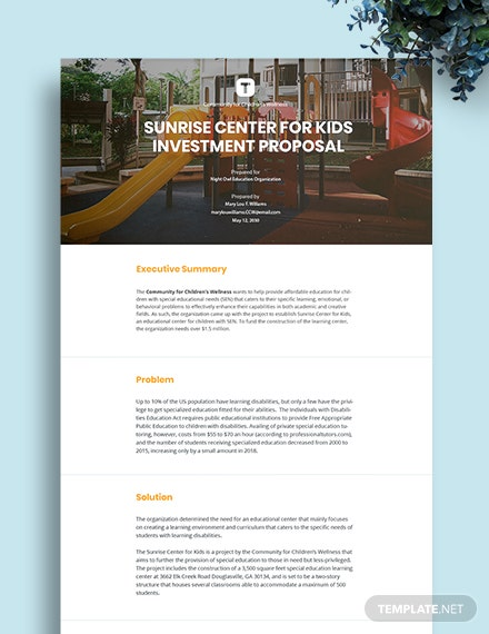 Construction Investment Proposal Template