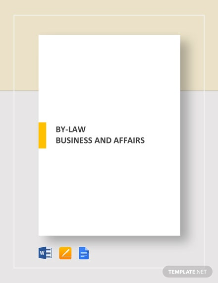 By-Law Business and Affairs Template