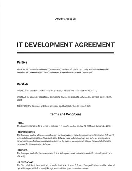 IT Development Agreement Template