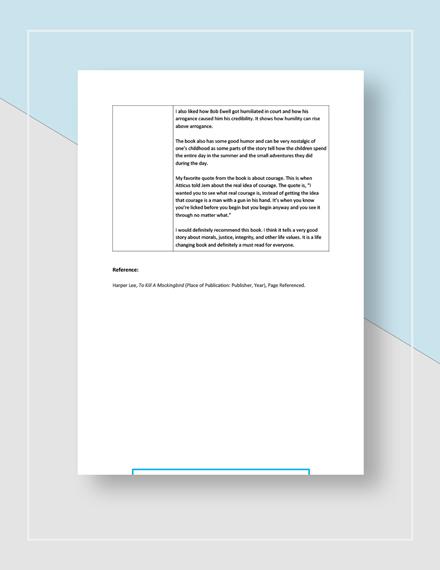 Sample Book Report