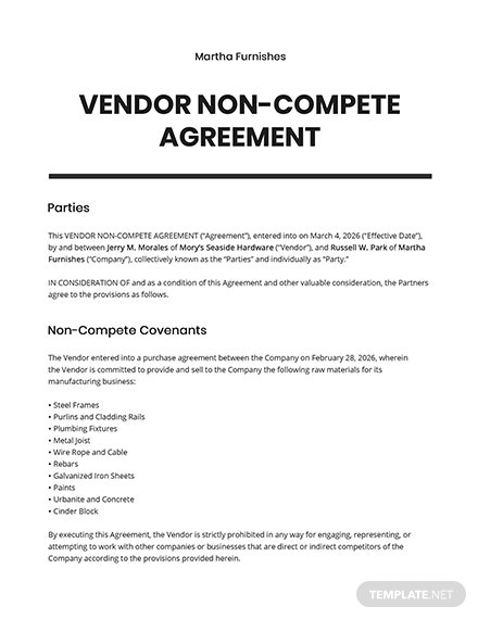 Vendor Non Compete Agreement Template