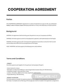 Cooperation Agreement Template