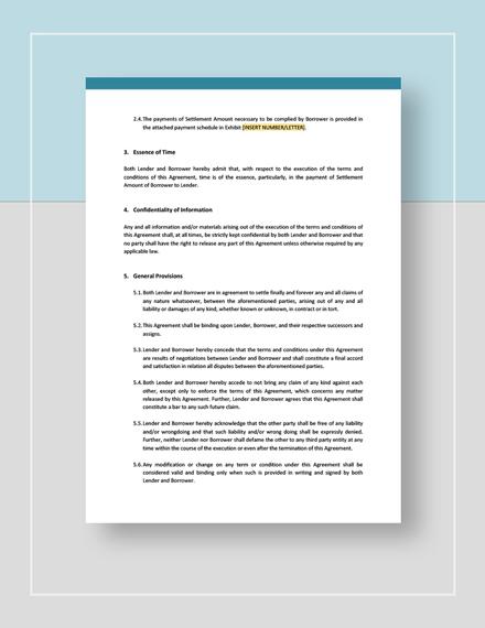 Debt Settlement Agreement Template Word Google Docs