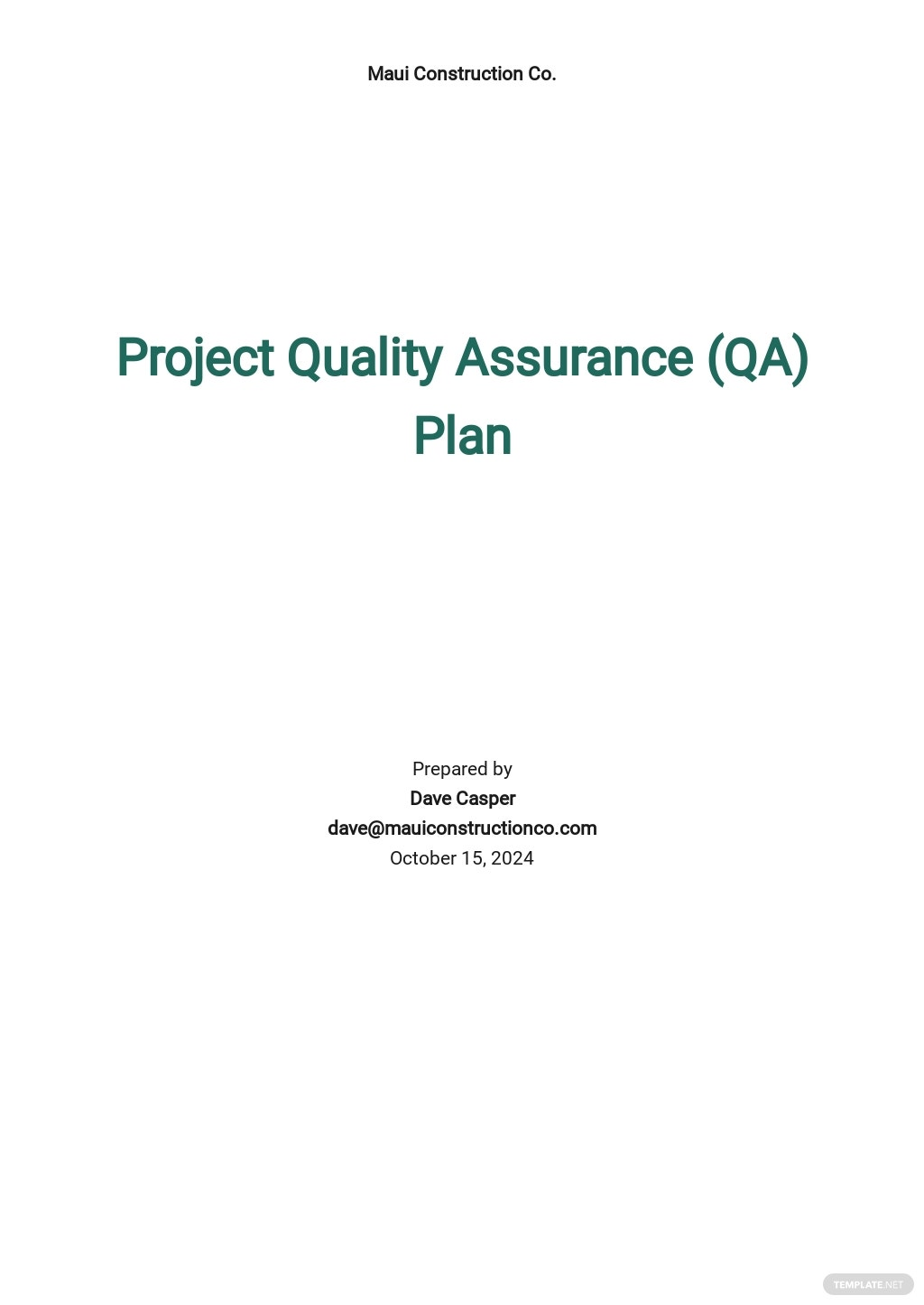 Project Quality Assurance Plan Template
