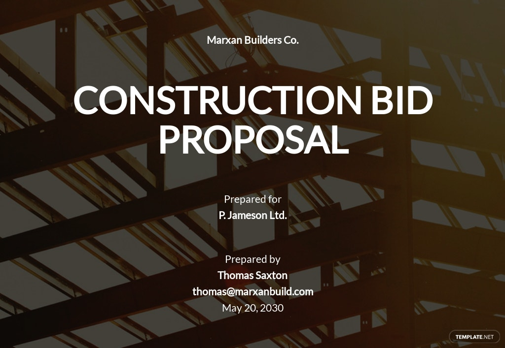 Construction Bid Proposal Template [Free PDF] - Google Docs, Word, Apple Pages
