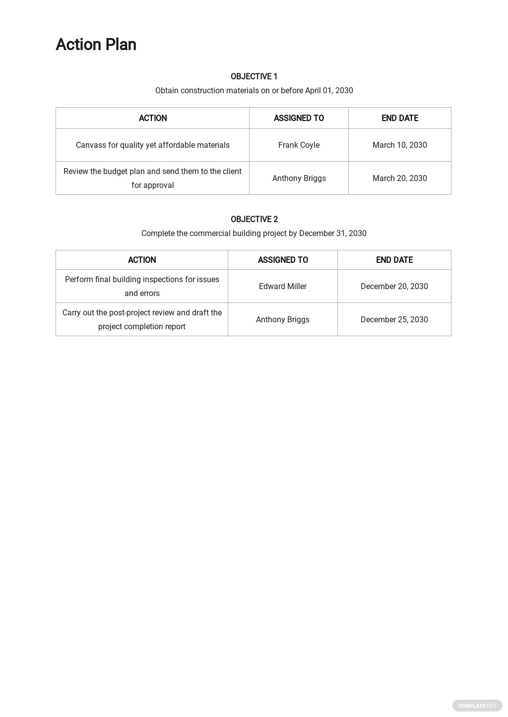 Sample Project Action Plan Template 2.jpe
