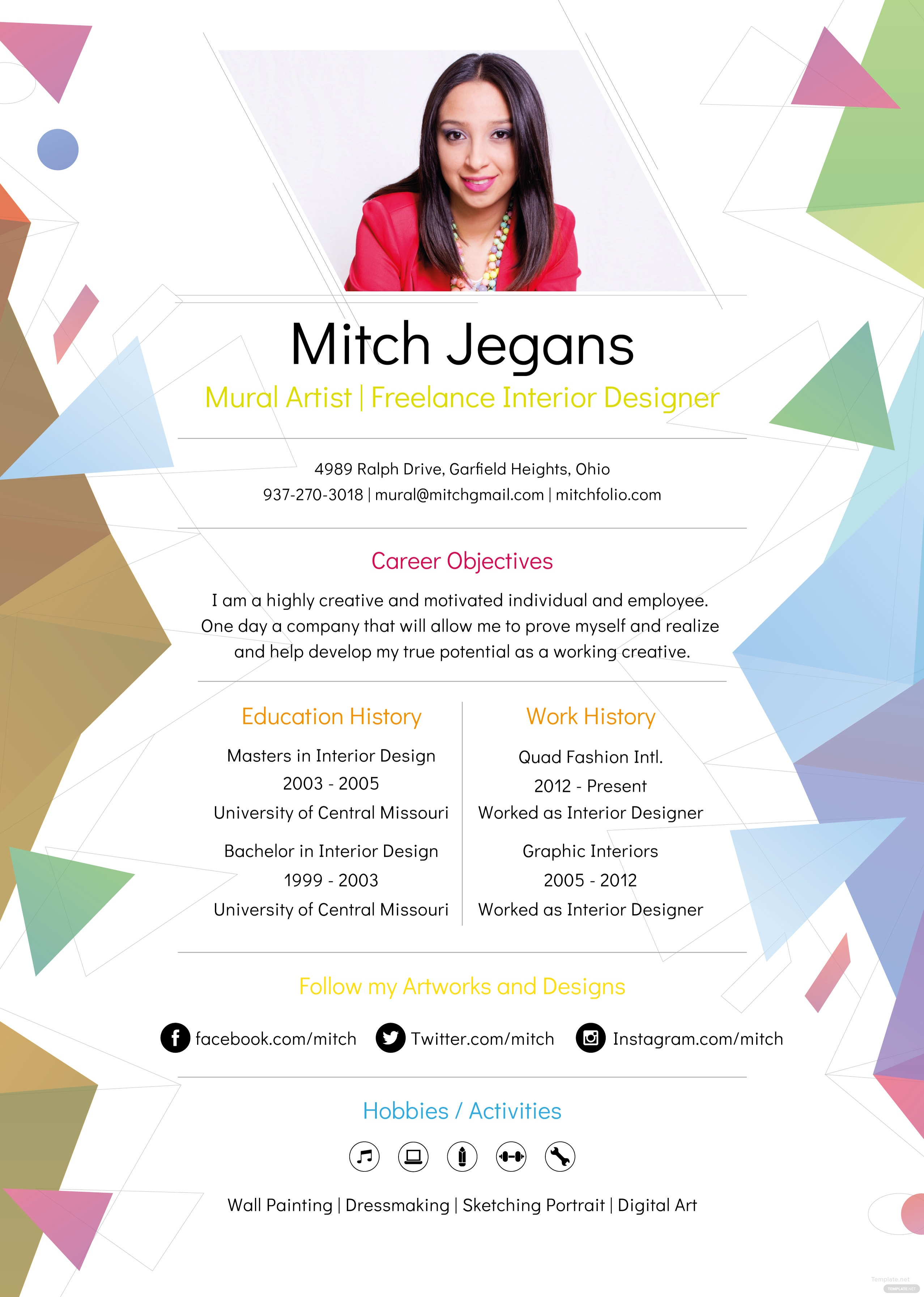 Free Creative Resume Template In Adobe Photoshop Adobe Illustrator
