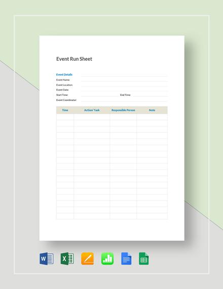 Event Run Sheet Template