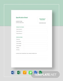 Spec Sheet Template