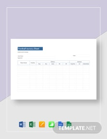 Football Statistics Sheet Template