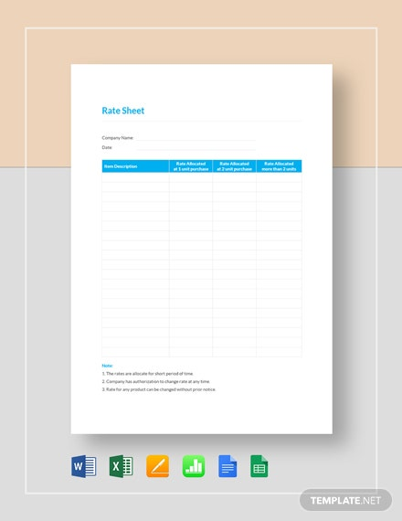 Rate Sheet Template