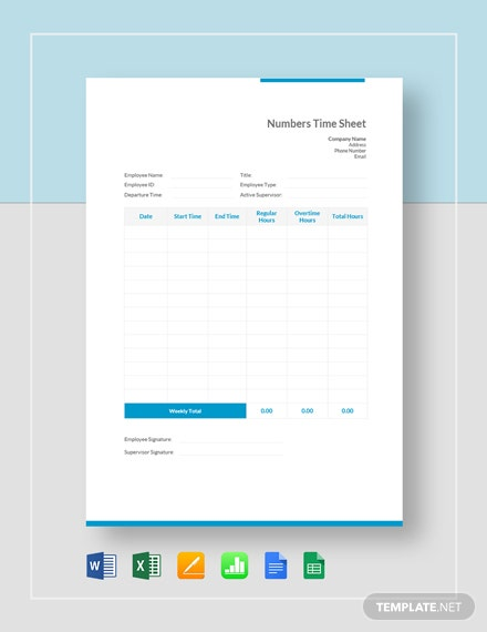 Numbers Time Sheet Template