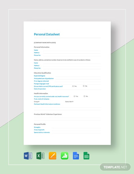 Personal Datasheet Template [Free Google Docs] - Google Sheets, Excel, Word, Apple Numbers, Apple Pages