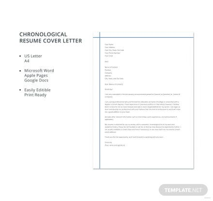 Free Chronological Resume Cover Letter Template