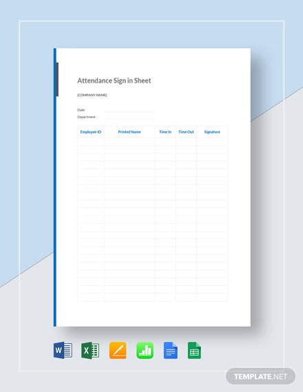 Attendance Sign in Sheet Template