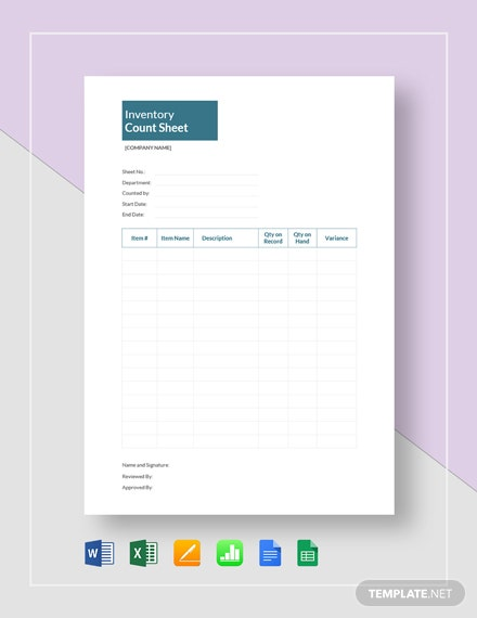 Inventory Count Sheet Template