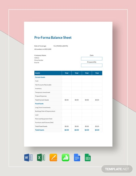 Proforma Balance Sheet Template Word Excel Google Docs