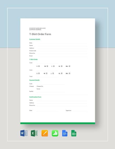 google order form  T Shirt Order Form Template - Word | Excel | Google Docs ...