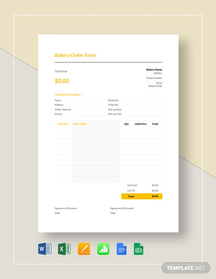 Bakery Order Template