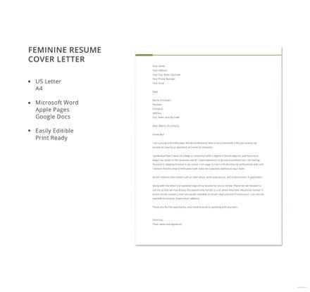 Free Feminine Resume Cover Letter Template