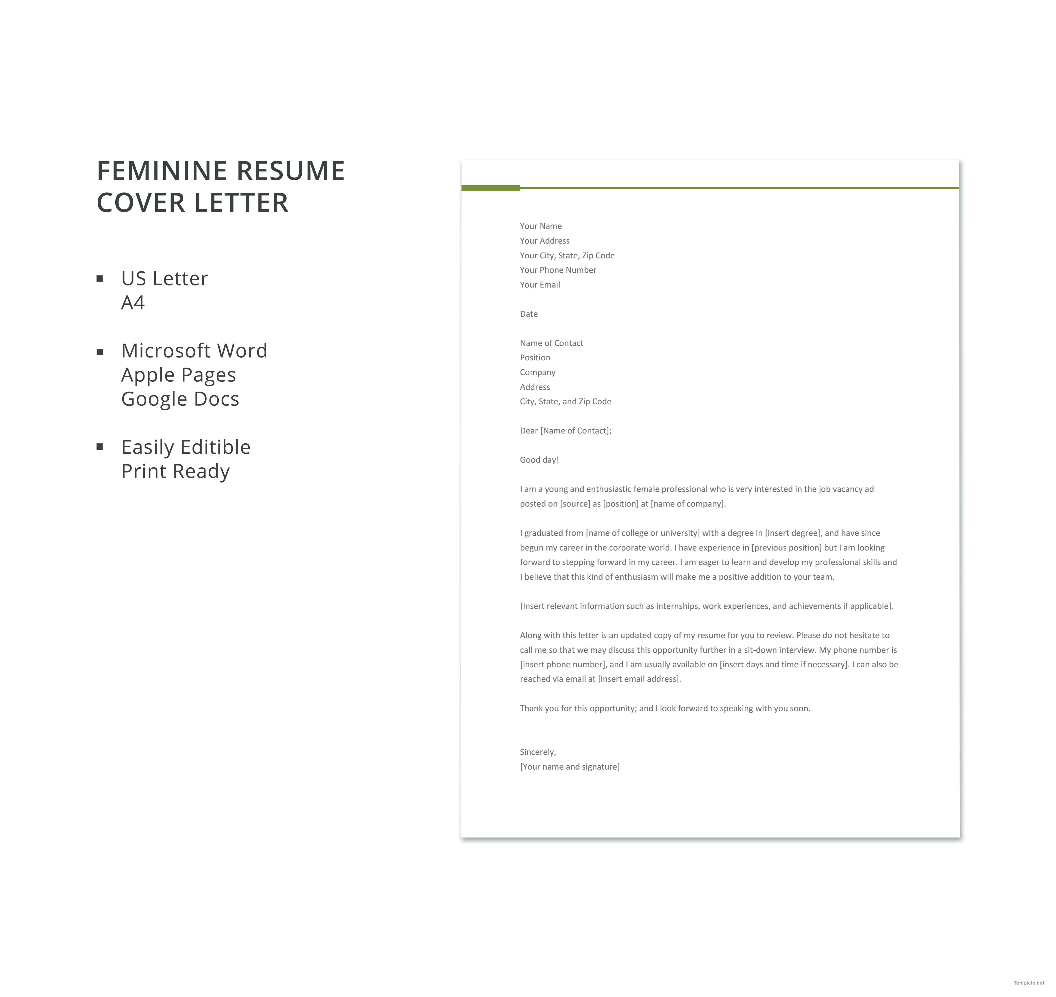 feminine resume cover letter template
