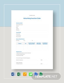 Advertising Insertion Order Template