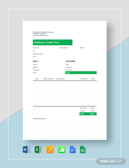 Stationery Order Template