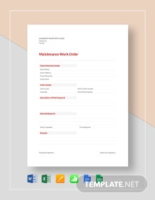 Maintenance Work Order Template