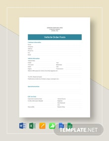 Vehicle Order Template