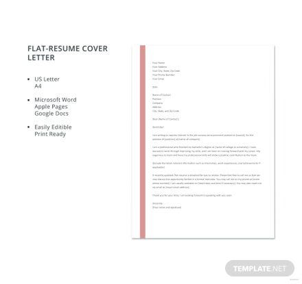 Free Flat-Resume Cover Letter Template