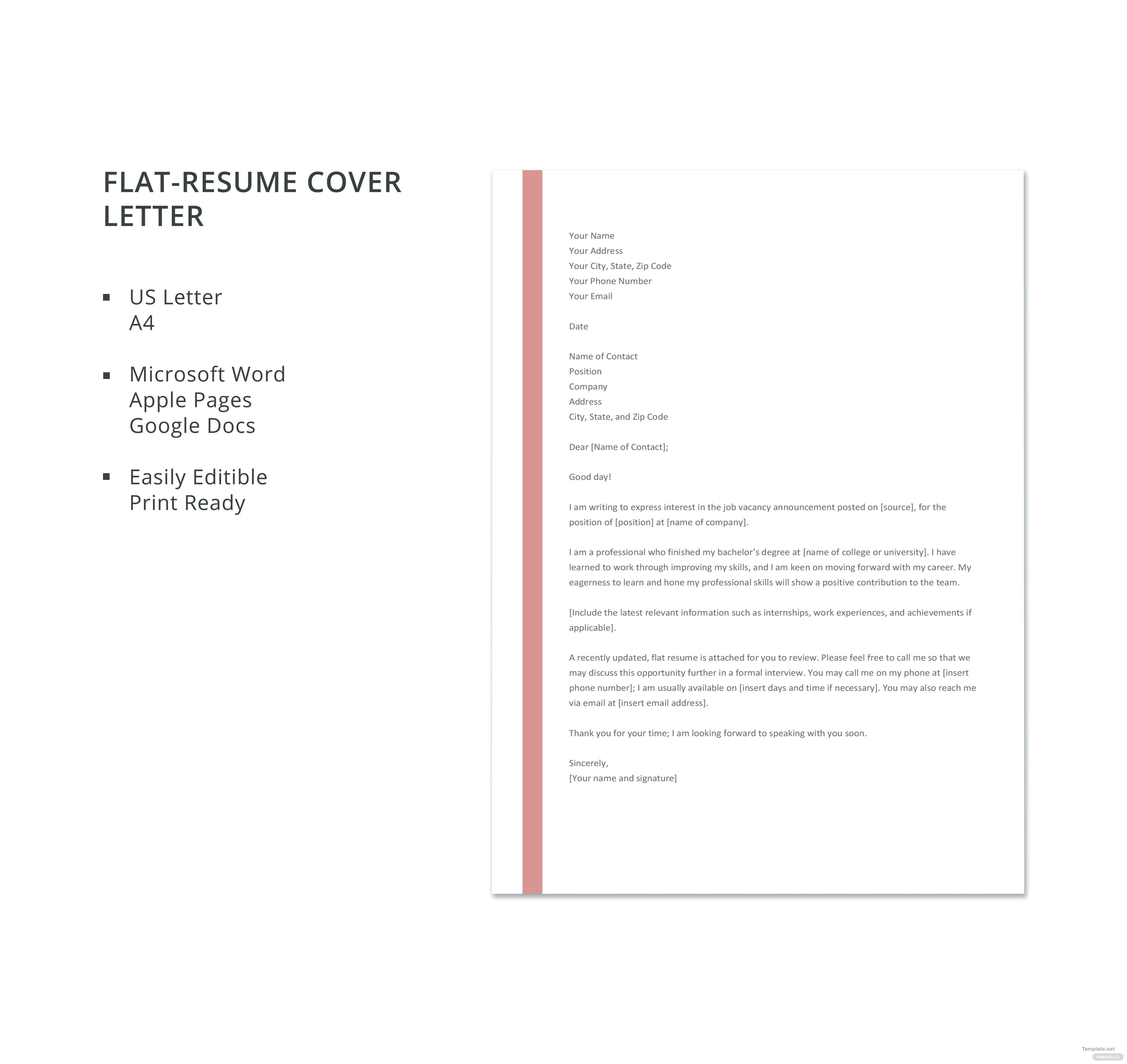 Free Flat-Resume Cover Letter Template in Microsoft Word, Apple ...