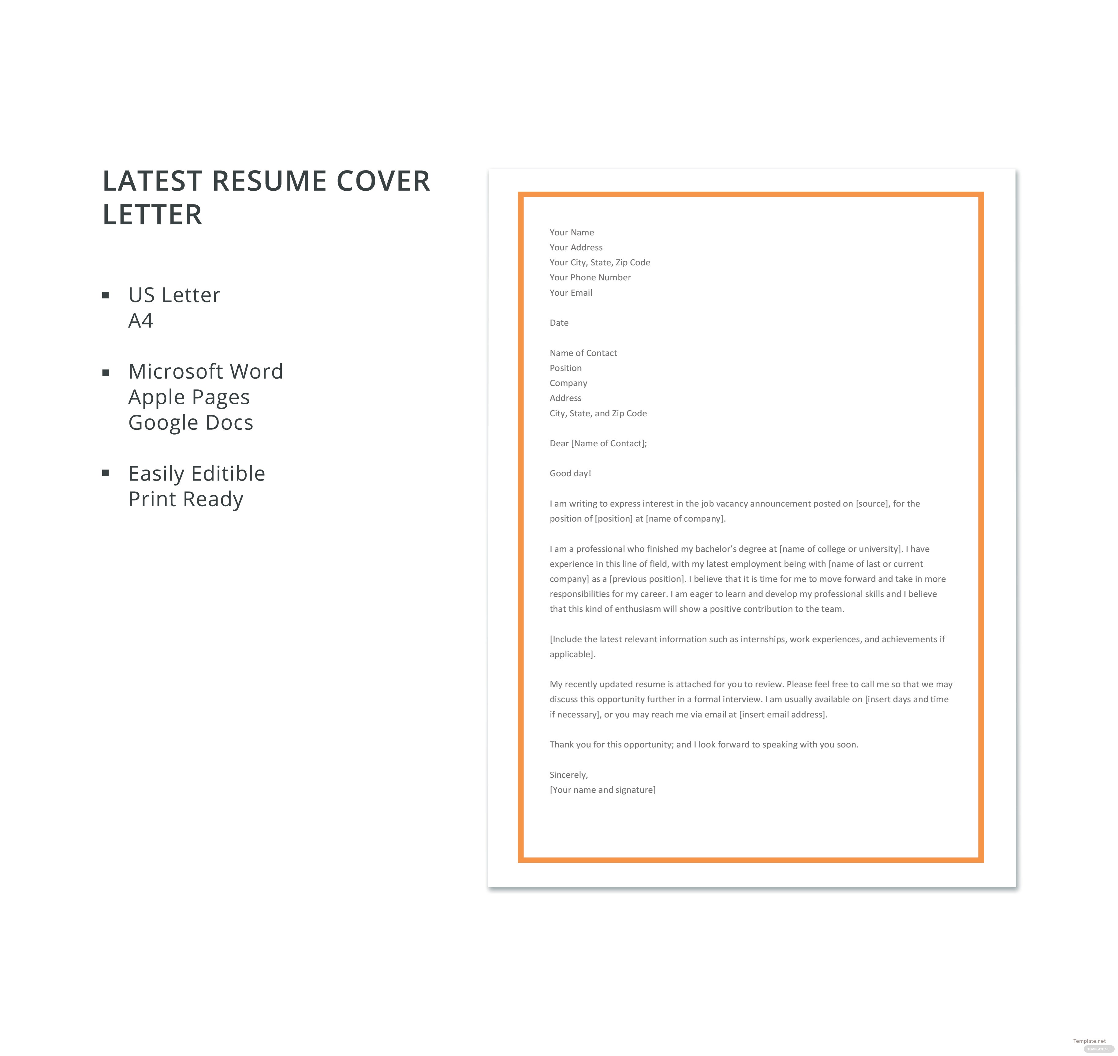 latest resume cover letter template - Good Cover Letter Template