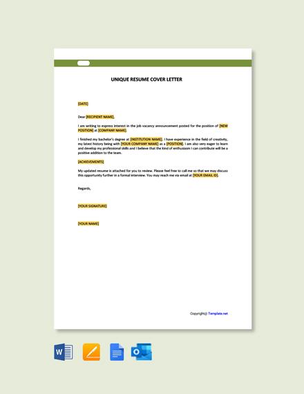 Free Unique Resume Cover Letter Template