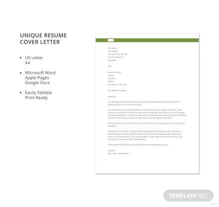 Free Unique Resume Cover Letter Template