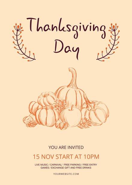 Free Minimal Thanksgiving Flyer Template