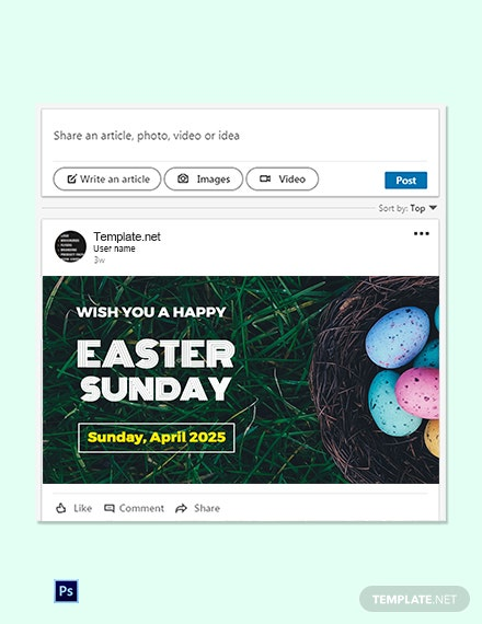 Free Easter Sunday LinkedIn Post Template