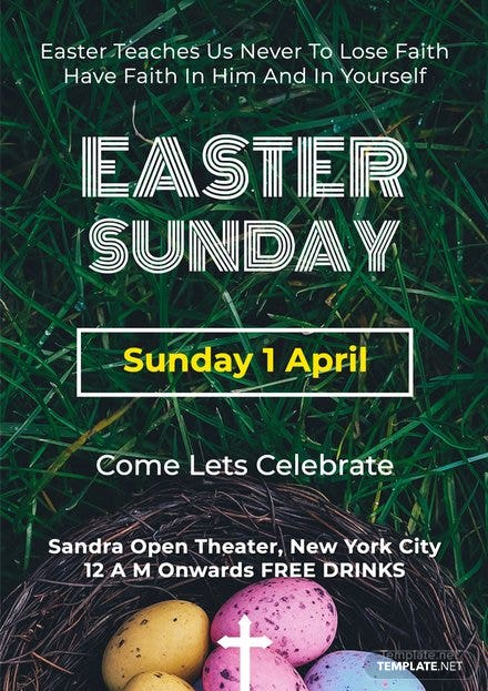 Free Easter Sunday A4 Poster Template