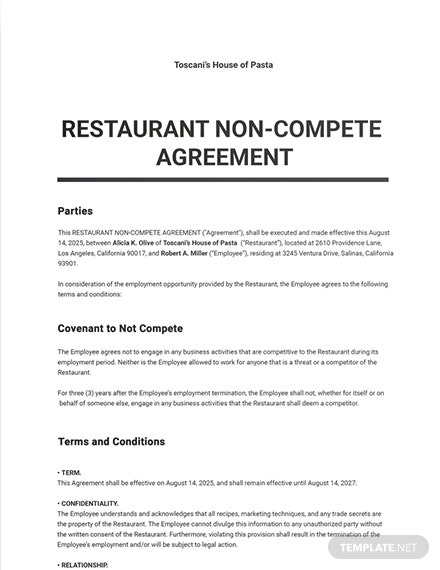 Restaurant Non Compete Agreement Sample