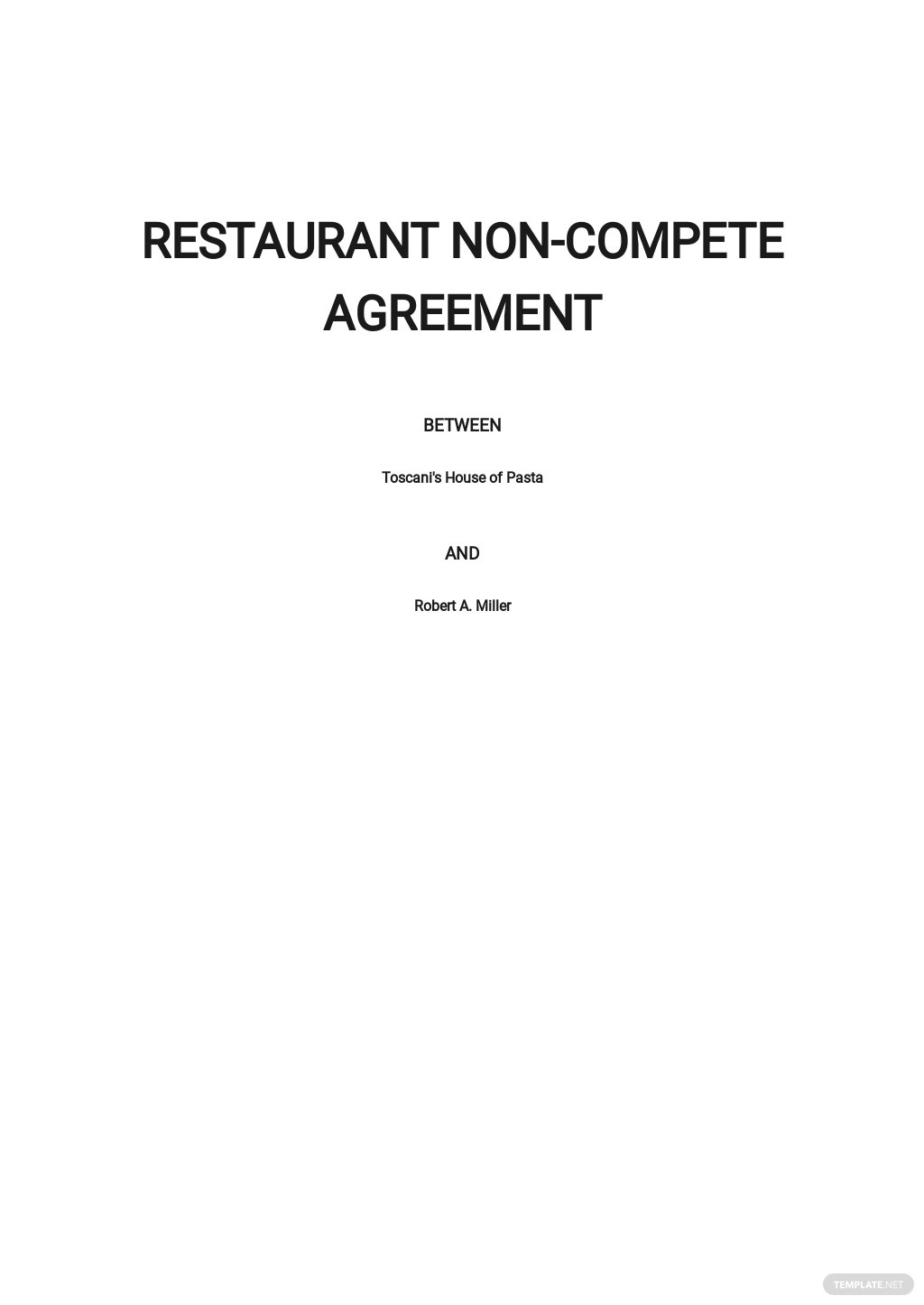 Restaurant Non Compete Agreement Template
