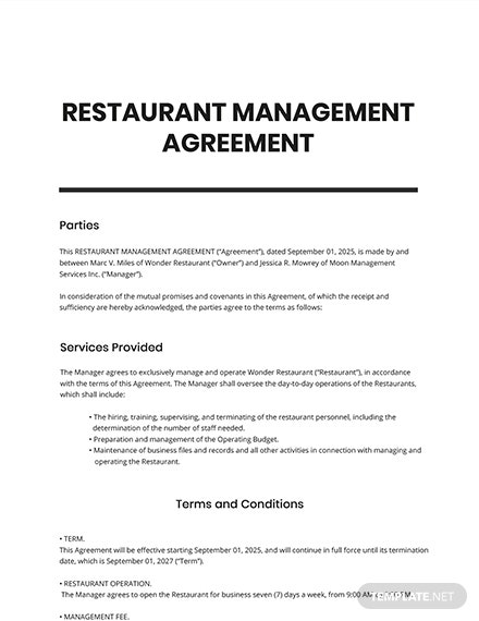 Restaurant Management Agreement Template