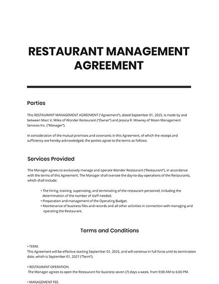 Restaurant Management Agreement Template