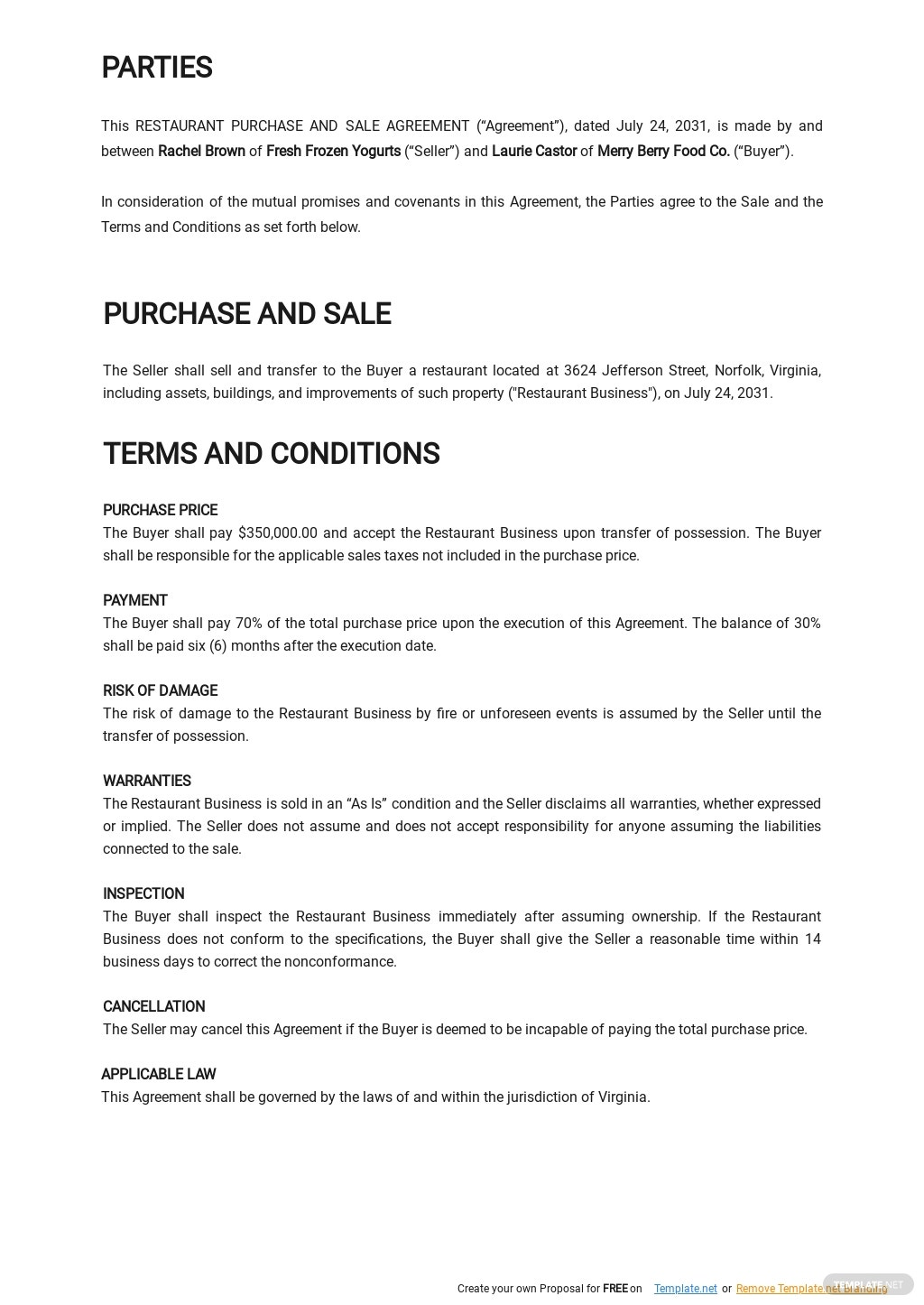 Restaurant Purchase and Sale Agreement Template 1.jpe