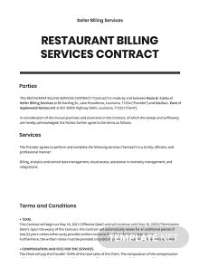 Restaurant Billing Services Contract Template